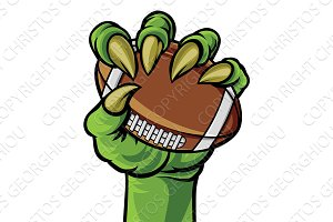 Claw Monster Hand Holding a Football Ball