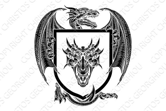Dragon Coat Of Arms Crest Shield Heraldic Emblem