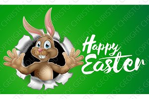 Happy Easter Bunny Rabbit Sign