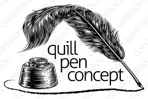 Quill Feather Pen and Ink Well Concept