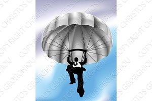 Businessman Parachuting Concept