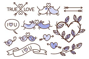 Hand drawn love themed illustrations