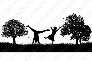 Little Kids Playing in Park Outdoors Silhouette