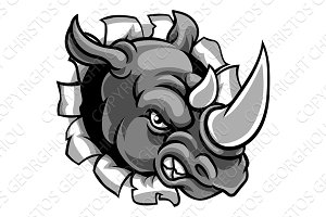 Rhino Mean Angry Sports Mascot Breaking Background