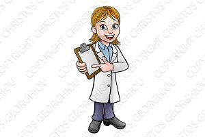 Cartoon Scientist or Lab Technician Character
