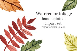Watercolor leaves of trees