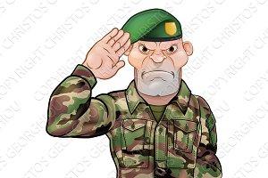 Saluting Soldier Cartoon