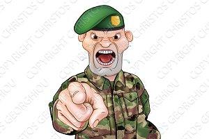 Pointing Soldier Cartoon