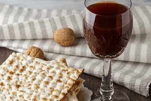 Jewish Matzah bread with wine