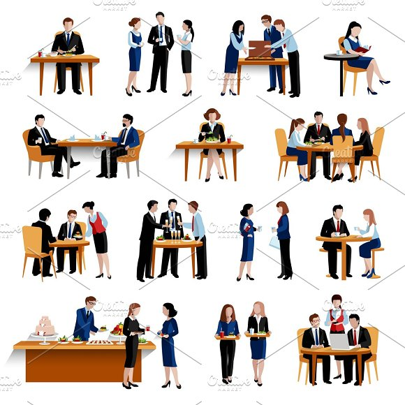 Business office lunch flat icons