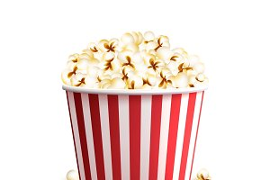 Realistic cinema red popcorn bucket