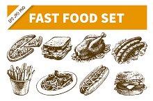 Fast Food Hand Drawn Set