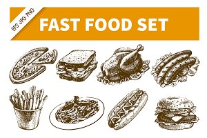 Fast Food Hand Drawn Set