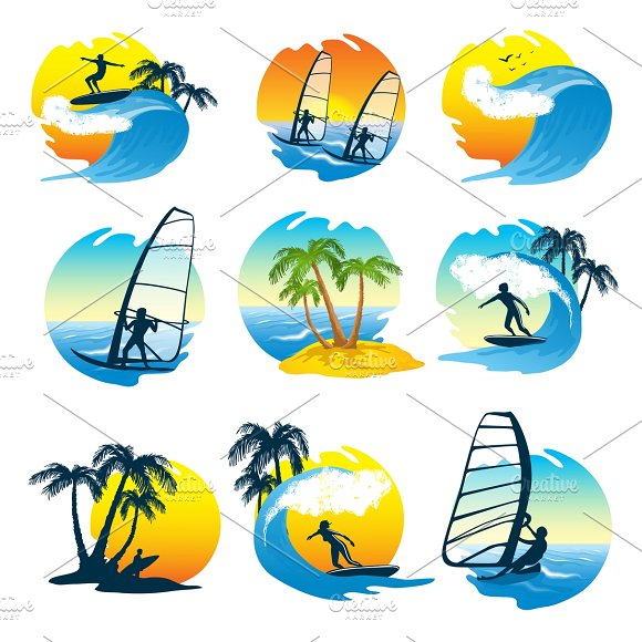 Surfing Icons Set With People