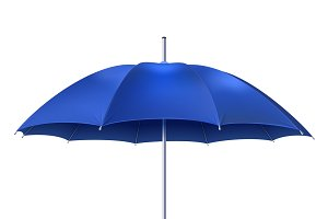 Realistic open blue umbrella