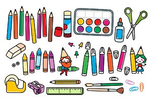 Arts and crafts supplies and gnomes