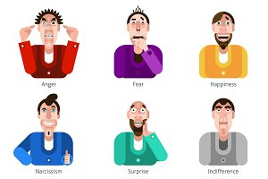 Male emotions flat icons set