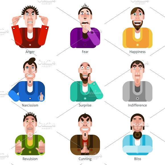 Male Emotions Flat Icons Set