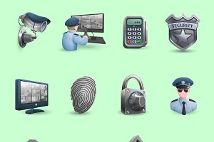 Decorative security icons set
