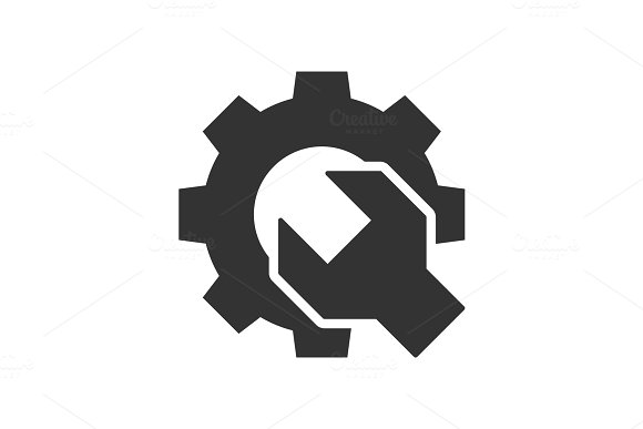 Wrench Gear Black Icon