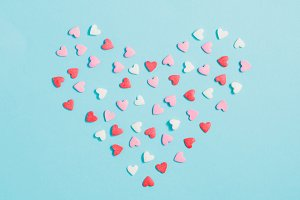 Candies hearts of pastel colors