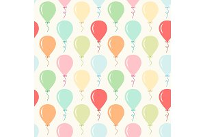 Seamless primitive retro background with party balloons of different colors