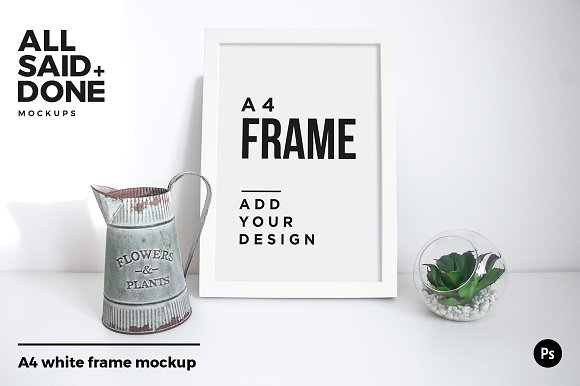 A4 White Frame With Vintage Jug
