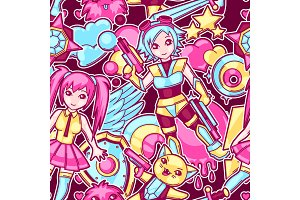 Japanese anime cosplay seamless pattern. Cute kawaii characters and items