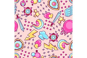 Seamless pattern with cartoon fantasy objects. Fashion symbols in comic style