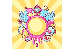 Background with cartoon fantasy objects. Fashion symbols in comic style
