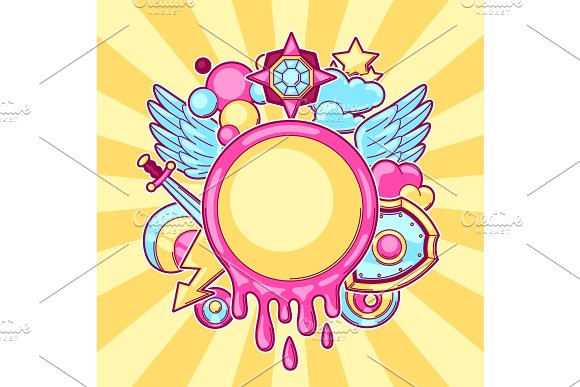 Background With Cartoon Fantasy Objects Fashion Symbols In Comic Style