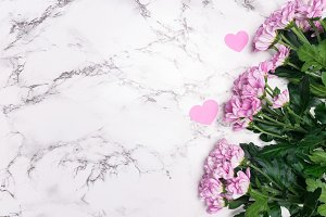 Valentines Day flat lay Pink flowers