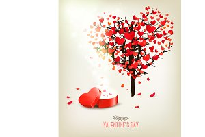 Heart shaped tree and a gift box.