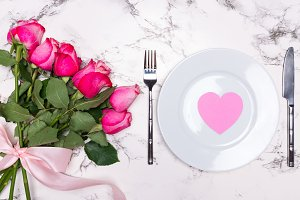 Valentines Day with plate fork knife