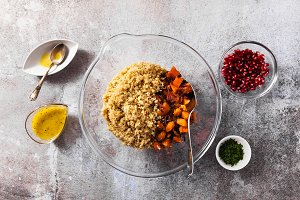 salad with quinoa, sweet potatoes or pumpkin, onions and classic