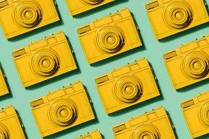 Retro yellow cameras