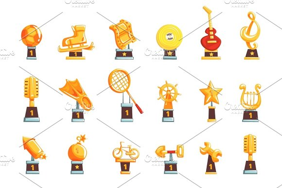 Cartoon Golden Trophy Cups Awards And Achievements Set Of Vector Illustrations