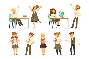 Cute pupils in grey school uniform having fun at school set, back to school, education concept colorful vector Illustrations