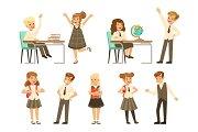 Cute pupils in grey school uniform having fun at school set, back to school, education concept colorful vector Illustrations