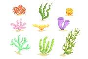 Set of cartoon underwater plants, seaweeds and aquatic marine algae vector Illustrations