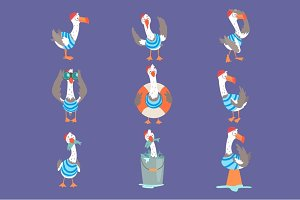 Funny cartoon seagull showing different actions and emotions set, cute comic bird characters