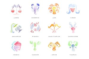 Zodiac Signs set of hand drawn watercolor vector Illustrations
