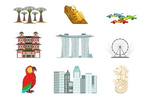 Singapore Touristic Symbols Set