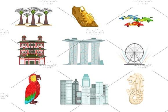 Singapore Touristic Symbols Set