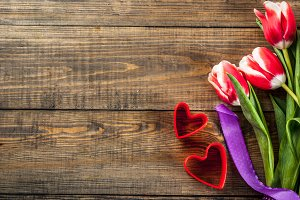 Valentine's background with tulips