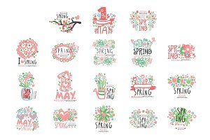 1 May set original design. Spring holidays, First May, International labor day colorful hand drawn vector Illustrations