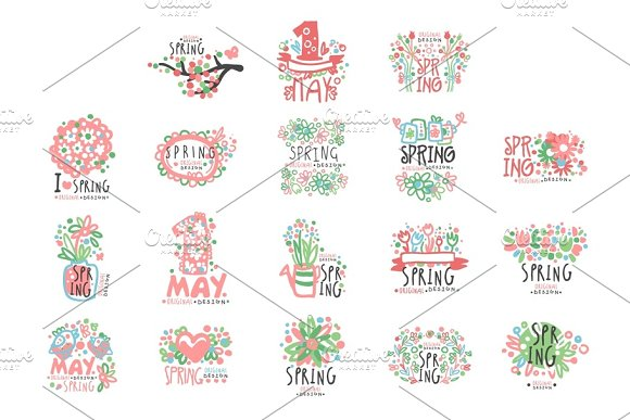 1 May set original design. Spring holidays, First May, International labor day colorful hand drawn vector Illustrations