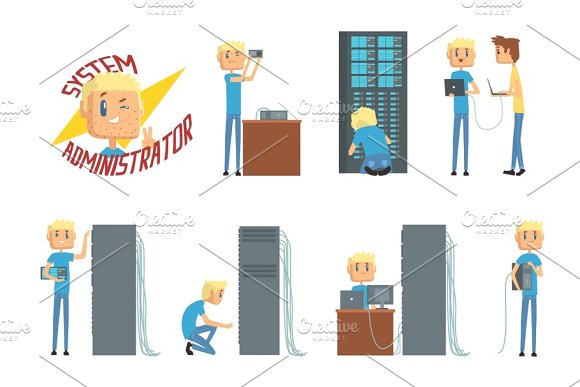System administrator, network engineer characters, set of network diagnostics, users support and server maintenance cartoon vector Illustrations