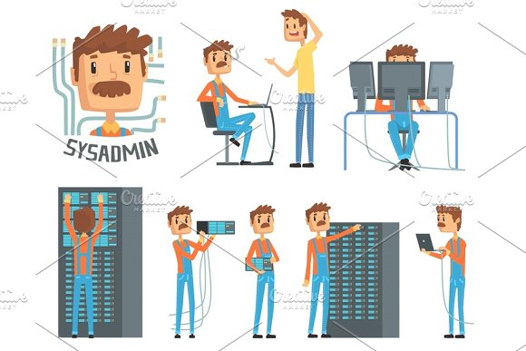 Sysadmin, network engineer characters, set of network diagnostics, users support and server maintenance cartoon vector Illustrations in Illustrations