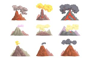 Volcano eruption set, volcanic magma blowing up, lava flowing down cartoon vector Illustrations